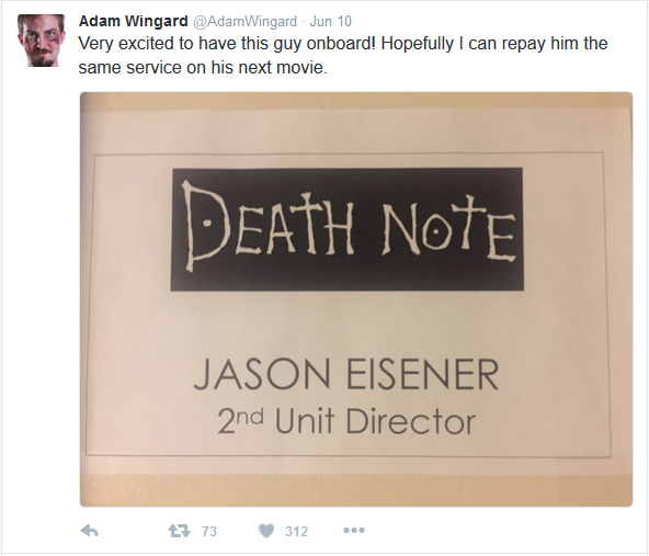 Adam Wingard Death Note Jason Eisener tweet (June 10th 2016)