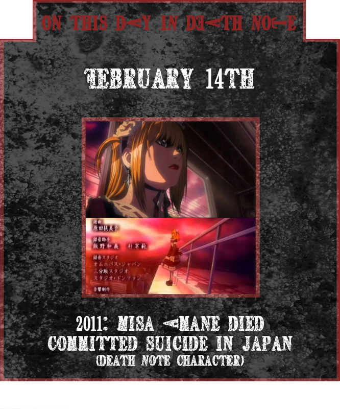 Misa Amane suicide February 14th 2011 Death Note
