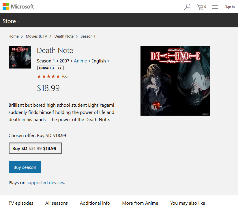 Screenshot of Microsoft Store Death Note page