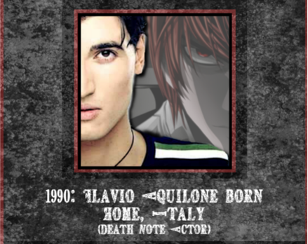 February 21st: Death Note Kira Voice Actor Flavio Aquilone born 1990