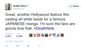 Death Note Arden Cho Tweet Whitewashing