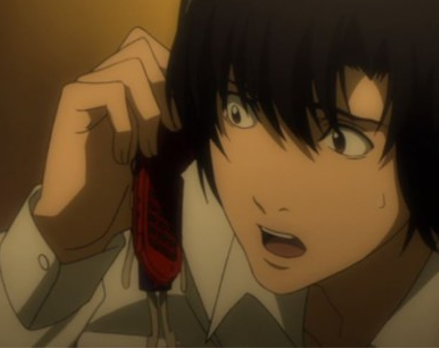 Death Note anime Matsuda on the phone
