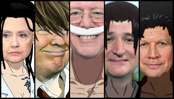 2016 US Presidential Candidates as anime characters