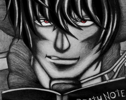 'Light Yagami' Death Note Detail from Lei K graphite pencil art - Death Note News