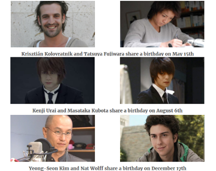 Six Death Note Kira actors share a birthday with another Kira actor