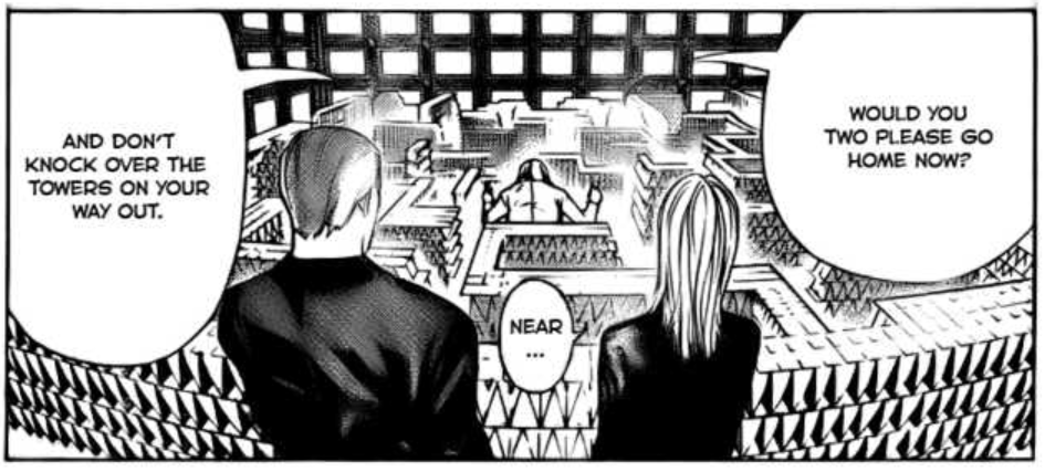 Near's tarot tower in Death Note one shot special