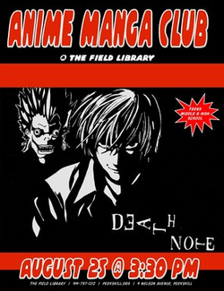 Peerskill Anime Manga Club Death Note poster August 25th 2015