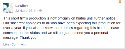 Lawliet Short Film Hiatus Message