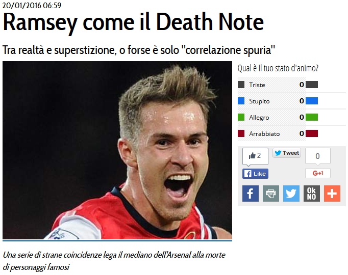 Arsenal Aaron Ramsey Death Note