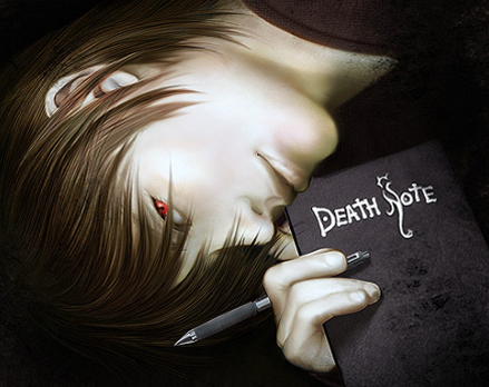 Detail from Light Yagami art by Nell Fallcard