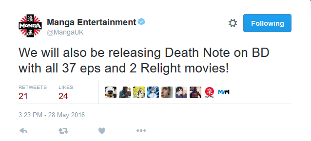 Manga Entertainment: Death Note blu-ray Britain