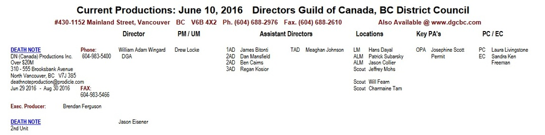 Death Note production information Directors Guild of Canada