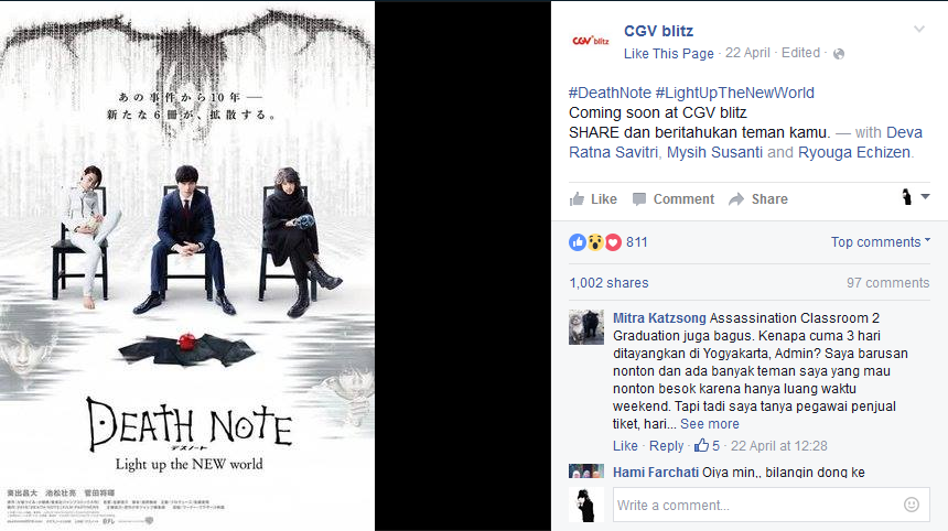 Facebook: CGV Blitz to show Death Note movie in Indonesia