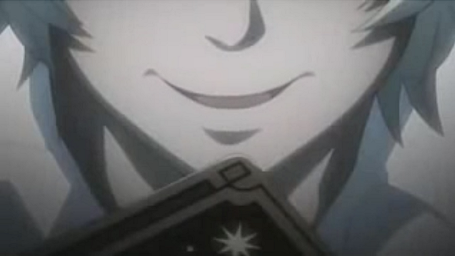 Death Note Near smiles over his tarot card (The Devil)