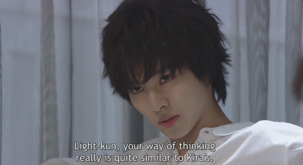 Death Note's L observing that Light thinks like Kira