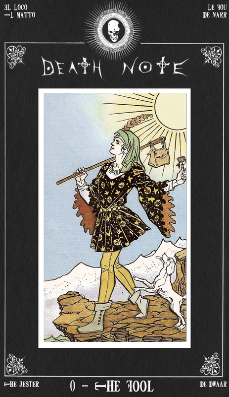The Fool in Death Note Tarot card frame