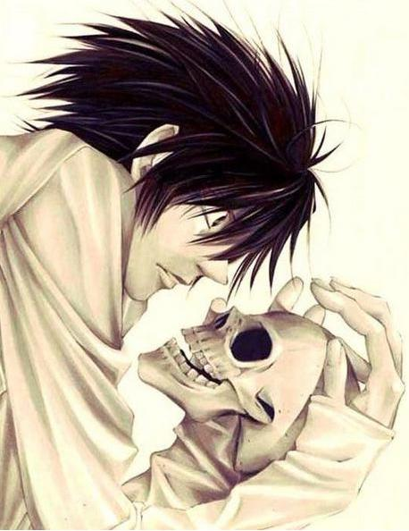 Death Note L with Skull